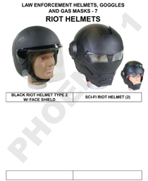 POLICE HELMETS, GOGGLES & GAS MASKS